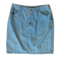 Liz Claiborne Size 10 Faded Blue Zip Front Denim Skirt With Pockets