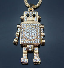 A68 New Betsey Johnson Crystal Cartoon Robot Pendant Sweater Chain Necklace