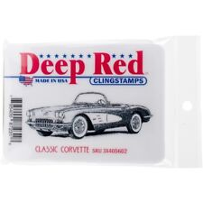 DEEP RED CLING RUBBER STAMPS CLASSIC CORVETTE NEW cling STAMP