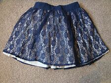 NAVY LACE SKIRT WITH SILVER UNDER SKIRT - BEAUTIFUL - MONSOON - AGE 7-8