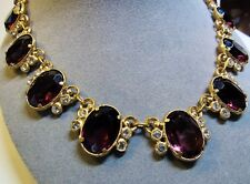 Vintage 1930s Gilded Gold Brass Purple Glass Stone Victorian Revival Necklace