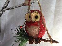 Christmas Polka Dot Red Owl On A Branch Bristle Straw Gisela Graham Decoration