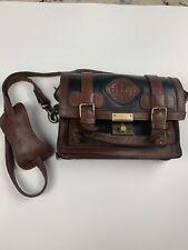 Vintage Gerpa Brown Black Leather Cross Body Purse Hand Bag Plaid Interior