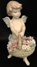 "~RARE~Lladro ""Heaven's Harvest"" Angel w/Flowers (6772 Mint in Box) FREE Shipping"