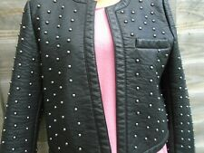 Mango Black  Faux Leather  Jacket with Studs Size 10 Chanel Style Get Noticed