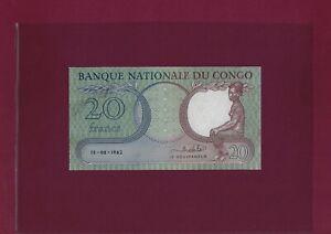 Congo Democratic Republic 20 Francs 1962 P-4 AU-UNC BELGIUM  ZAIRE