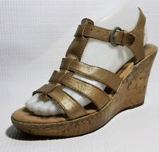BOC BORN Womens 7 M Gold Strappy Wedge Slingback Sandal Heels Ankle Strap Shoes