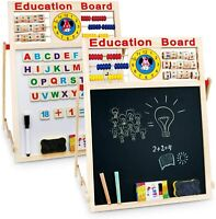 6 In 1 Educational Learning Toy Activity Drawing Board Kids Art Easel Wooden
