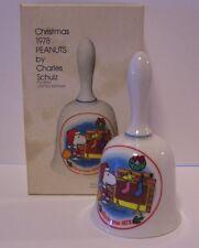 Santa Snoopy Christmas Bell Fireplace Woodstock Peanuts Schmid Vintage 1977
