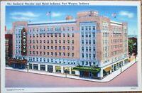 Fort Wayne, IN 1940s Linen Postcard: Emboyd Theatre & Hotel Indiana