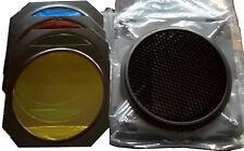 Set 4 filtri per studio fotografico + griglia nido d'ape + supporto con alette