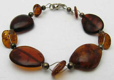 """New 6"""" Bracelet w/ Flat Amber Stones Unique Shapes Pretty 925 Sterling Silver"""