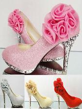 Sexy Bride Flowers Wedding Party Glitter Diamantes High Heel platform Pumps Shoe
