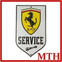Rare Vintage Old Ferrari Service Enamel Sign Porcelain Bagde - VGC