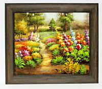 Country Floral Garden  20 x 24 Art Oil Painting on Canvas w/ Wooden Frame