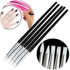5Pcs Soft Silicone Nail Art Design Stamp Pen Brush UV Gel Carving Craft Pencils