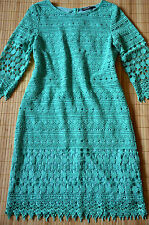 HALLHUBER DONNA schönes Etuikleid Kleid Gr. 44 UK 16 neu Häkelspitze Opal Grün