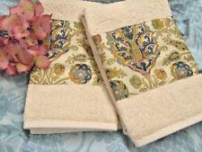 MARRAKESH  2 Custom Hand Towels DECORATED W/ NEW Ralph Lauren fabric
