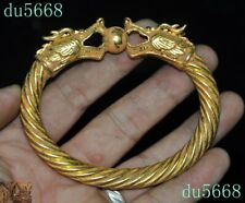 Old Chinese Antique Bronze 24k gold animal Dragon head hand ring bracelet statue