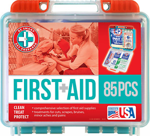 Be Smart Get Prepared 85 Piece First Aid Kit In Durable Plastic Case, Compact...