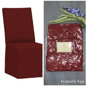 Pottery Barn Loose Fit Dining Side Chair Covers Twill Cranberry Slipcover Cotton