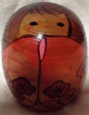 "Japanese Kokeshi Wooden Doll 2 1/2"" H Flowers Label Japan"