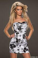 sexy Trägerloses Bandeau Minikleid Kleid Blumenprint Schwarz Weiß Gr. M 36 38