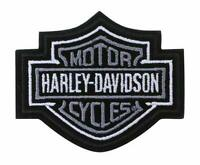 Harley Davidson Classic Bar And Shield Silver and Black Iron On / Sew On