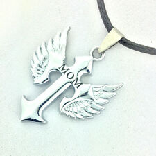 lady Holly MoM Silver Wings Cross alloy Necklace Pendant PU Chain Gift 1 pcs