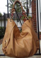 BIG BUDDHA Large Tan Faux Leather Shoulder Handbag Hobo Bag Purse Chain Straps