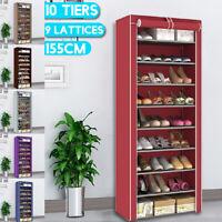 10 Tiers 9 Lattices Shoe Rack Shelf Storage Closet Organizer Cabinet With Cover