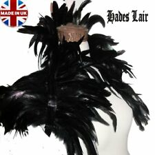 40-43CM WIDE MULTIWAY UNISEX BLACK LONG COQUE FEATHER CAPE SHRUG COLLAR BOA GOTH