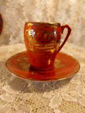 Vintage KUTANI EIRAKU Cup & Saucer Gold & Red / Orange DRAGON Pearl Japan China