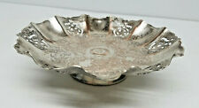 Vintage Hammered Aluminum Metal Tray Dish Cut Out Etched Design 6 1/4''
