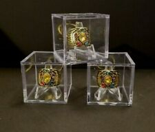 THREE (3) SPORTS CHAMPIONSHIP RING DISPLAY CASE HOLDERS CLEAR STACKABLE CUBES