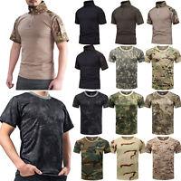 Herren T-Shirt Camouflage Outdoor Tarnmuster Militär Woodland US Armee Top Shirt