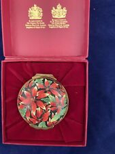 Halcyon Days Enamels Trinket Box - Xmas Poinsettia -1989 -Neiman Marcus -England