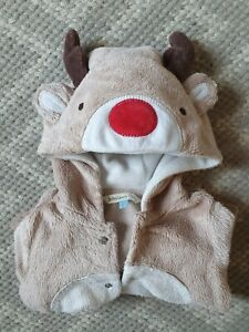 John Lewis 0-3 Months Reindeer Bodysuit/Romper Christmas Outfit Baby Boys Girls