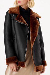 M&S (Marks and Spencer) Faux Shearling Aviator Jacket Black/Brown Size 10
