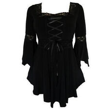 Women Ladies Gothic Steampunk Flared Sleeve Lace Up Loose T-Shirt Tops Blouses