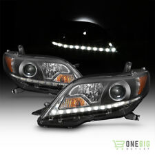 11-17 Toyota Sienna Black Projector Headlights Halogen Model DRL LED