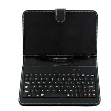 Black Leather Stand Case with Micro USB Keyboard For 7 Inch Tablet PC