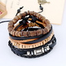 Fashion Men's Leather Wooden Beads Multilayer Bracelet Bangle Wristband Set Gift