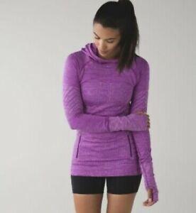 Lululemon Sz 10 Rest Less Purple Pullover Workout Top Hoodie