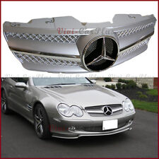 SL65 Style Silver Front Replacement Grille Hood Cover For 03-06 R230 SL500 SL600
