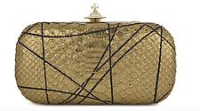 NWT - VIVIENNE WESTWOOD Pollock Metallic Snake-Embossed Box Clutch, Gold RRP£255