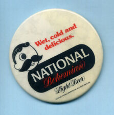 "National Bohemian Beer w/Mr. Boh for Light Beer Vintage Nos 3"" pin back button"