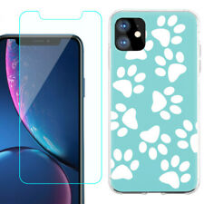 TPU Case for Apple iPhone 11 + Tempered Glass - Pet Paw / Teal