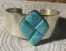 Jay King DTR China Sterling Silver Turquoise Inlay Cuff Bracelet Large