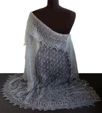 Chale gris Châle russe idee Cadeau Original Femme, Châle GRIS Tricoté à la main